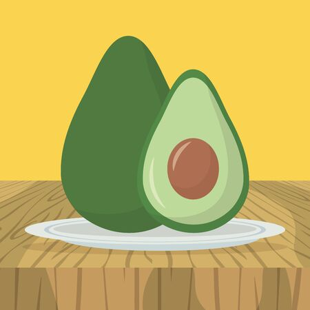 avocado plate delicious food yellow background vector illustration Ilustracja
