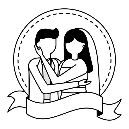 wedding people - groom and bride sticker ribbbon vector illustration