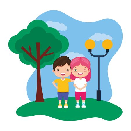 happy boy and girl in the park vector illustration Illusztráció