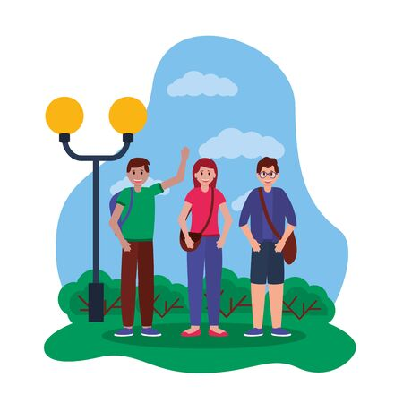 happy young people outdoor smiling vector illustration