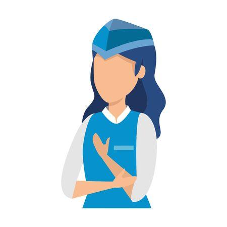 Asistente de vuelo femenino avatar ilustración Vectorial character design