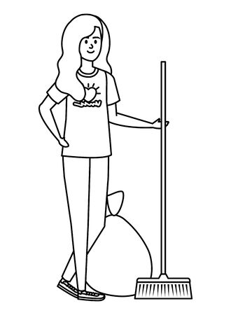 young woman volunteer with garbage bag with broom vector illustration design 스톡 콘텐츠 - 130132364