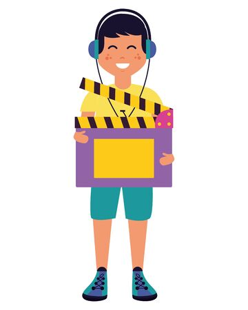 man with headphones and clapboard vector illustration Imagens - 130132379