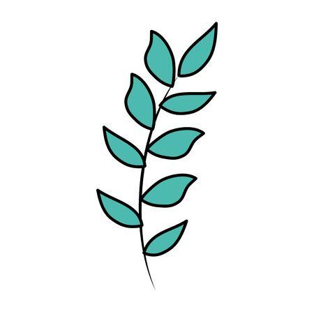 branch with leafs plant vector illustration design Banco de Imagens - 130132406