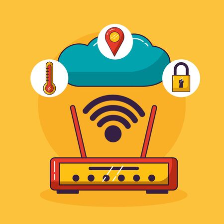 router wifi free connection cloud storage vector illustration