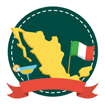 mexico map geography with cocktail and flag vector illustration design Foto de archivo - 130132668