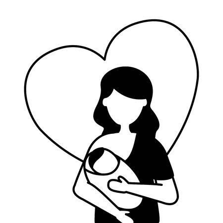 mom feeding newborn pregnancy and maternity vector illustration