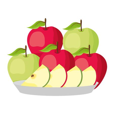 green and red apples slice tropical fruits in dish vector illustration