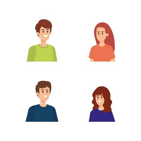 set cute boys and girls with fashion hairstyle vector illustration Illusztráció