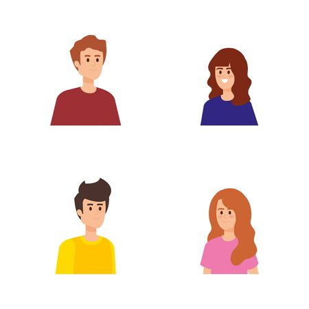 set nice boys and girls with hairstyle vector illustration