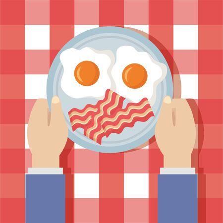 man breakfast cooking fried eggs bacons vector illustration Illustration