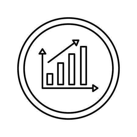statistics bars and arrow vector illustration design Illustration