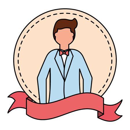 groom wedding day sticker ribbon vector illustration Illustration