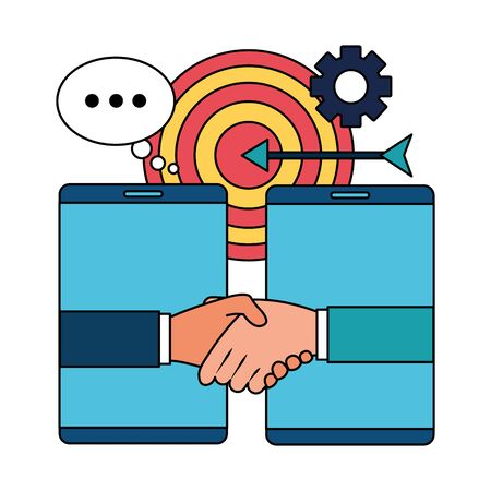 hands business persons done deal with smartphones vector illustration design Vektorové ilustrace