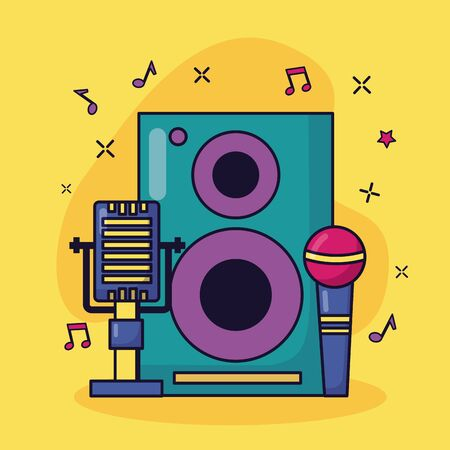 microphones speaker music colorful background vector illustration  イラスト・ベクター素材