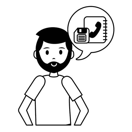 man address book talk bubble teacher day vector illustration