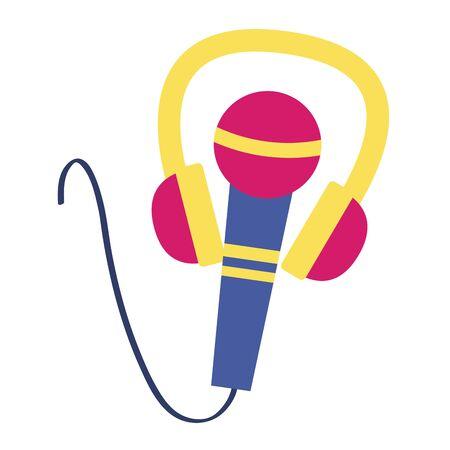 headphones microphone music festival on white background vector illustration