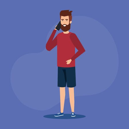 young man calling with smartphone vector illustration design