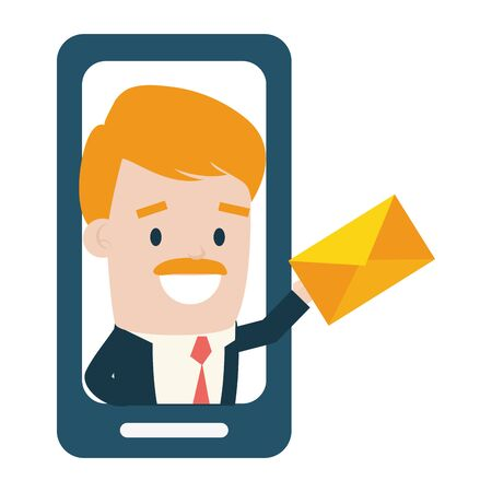 smartphone businessman digital send email vector illustration
