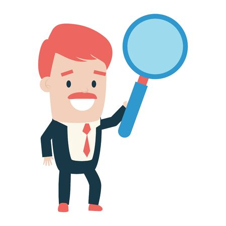 businessman holding magnifier on white background vector illustration Archivio Fotografico - 130132786