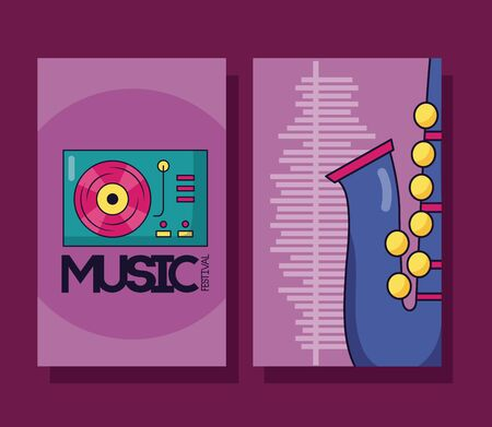 turntable vinyl saxophone banner festival music vector illustration Banco de Imagens - 130132788