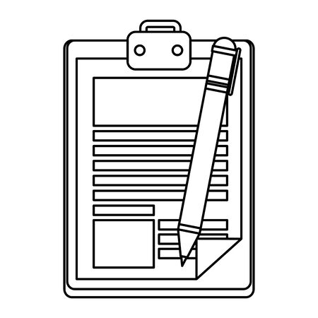 clipboard with pen writing vector illustration design