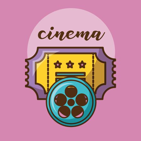 Cinema ticket design, Movie video film media entertainment show and event theme Vector illustration