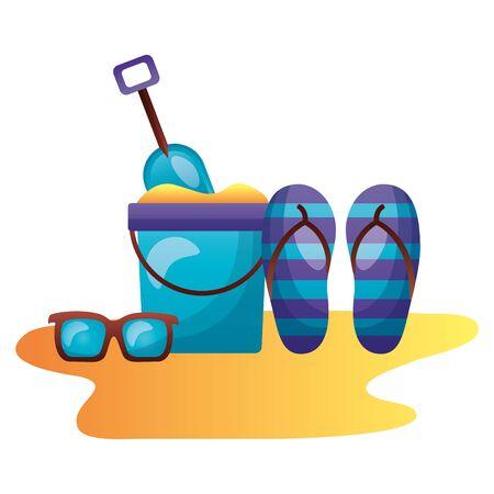 summer time holiday beach bucket sandals sunglasses vector illustration