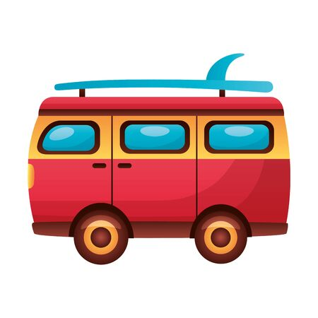 summer time holiday van car surfboard  vector illustration