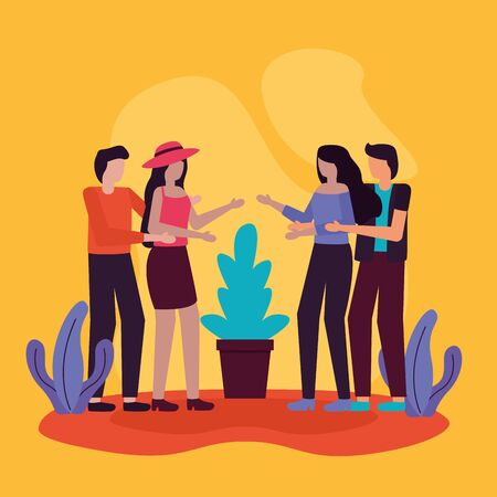 couples talking conversation activities outdoors vector illustration