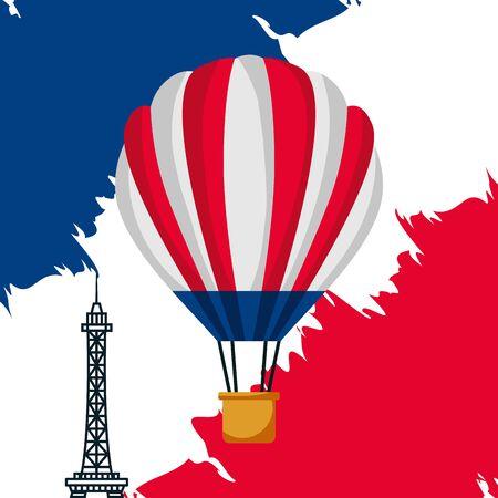 eiffel tower hot air balloons flag happy bastille day vector illustration