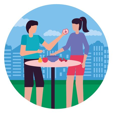couple eating fruits romantic in the city park vector illustration