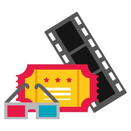 film strip ticket 3d glasses cinema movie vector illustration Illustration