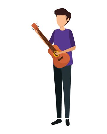 man playing guitar character vector illustration design  イラスト・ベクター素材
