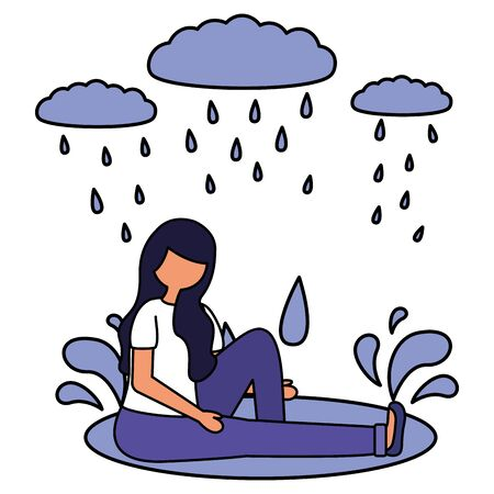 sadness girl rain drops disappointed and depressed vector illustration