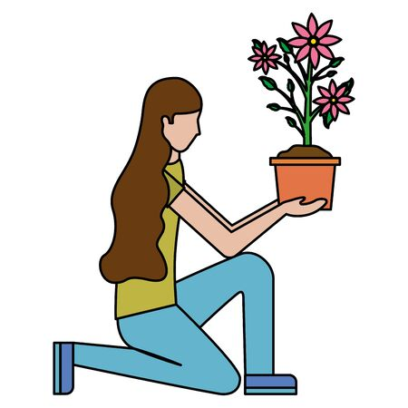 woman with flower in pot decoration gardening flat design vector illustration