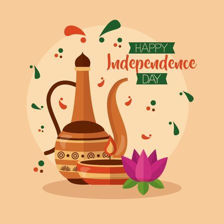 happy independence day india clay teapot candle flower vector illustration Stock Illustratie