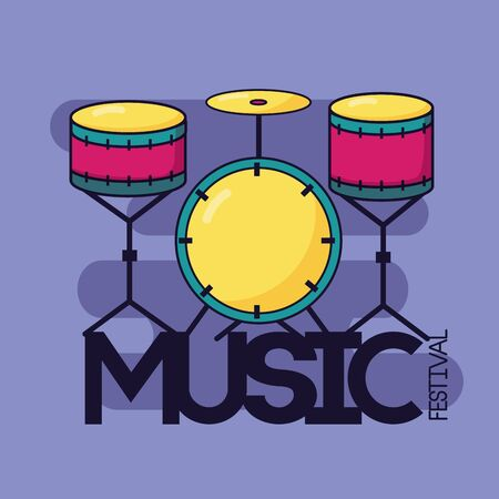 drums classic music festival background vector illustration Illustration