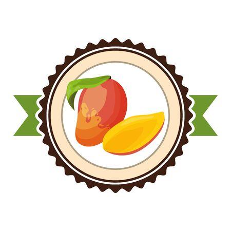 mango tropical fruits sticker design vector illustration