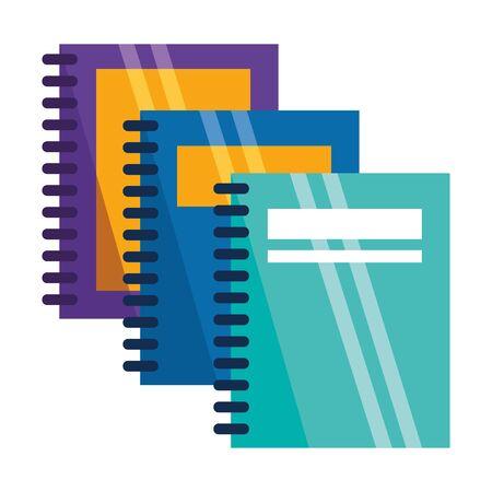 three spiral notebooks back to school vector illustration