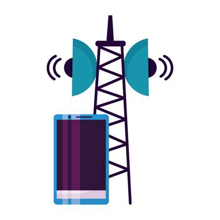 smartphone device antenna signal on white background vector illustration Ilustrace