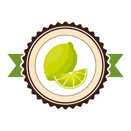 lemon tropical fruits sticker design vector illustration Archivio Fotografico - 130135091