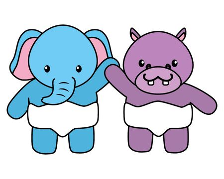 cute little elephant and hippo babies characters vector illustration design