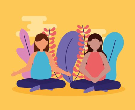 women pregnancy practicing yoga relaxing maternity scene vector illustration