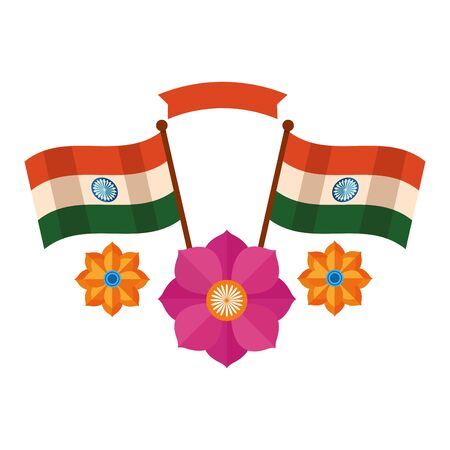 indian flags with lotus flower independence day vector illustration design 向量圖像