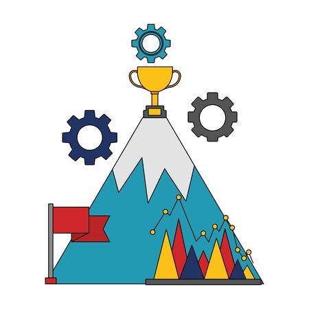 business mountain trophy flag diagram vector illustration