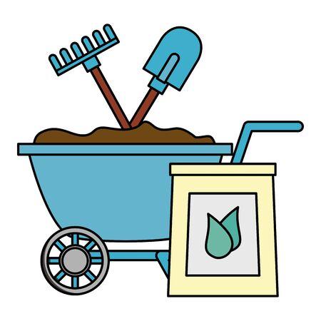 wheelbarrow shovel rake and soil tools decoration gardening flat design vector illustration