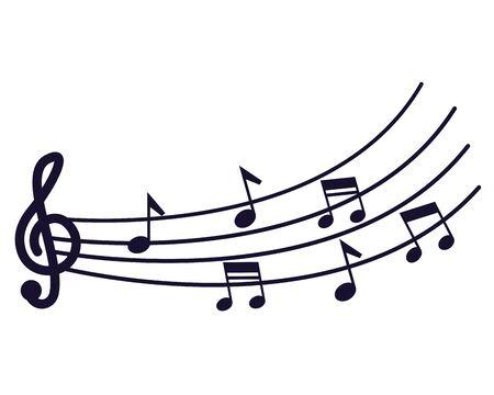 Tonmelodie-Pentagramm und Musiknote-Vektorillustration