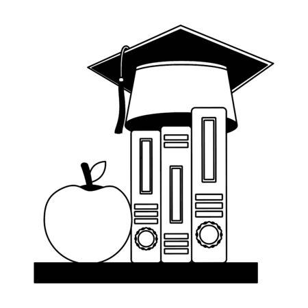 graduation hat on education books and apple vector illustration