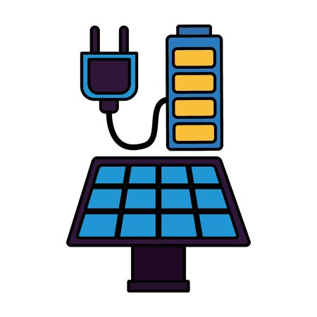 energy sustainable solar panel battery vector illustration